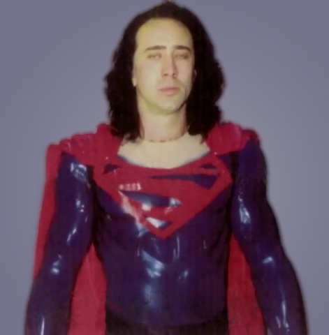 Nic Cage in an early screen test for 'Superman Lives'