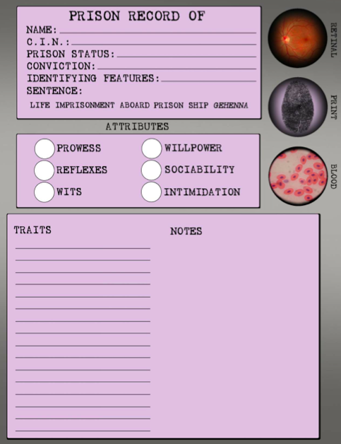 A preview of the Abandon All Hope character sheet.