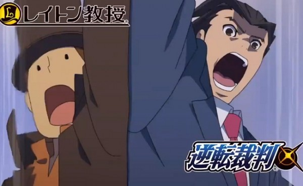 Professor Layton vs Ace Attorney announcement banner