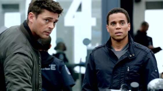 Karl Urban as Det. Kennex and Michael Ealy as Dorian in Fox's Almost Human.