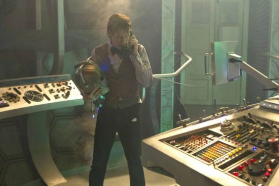 The Doctor (MATT SMITH) - with a Cyberman head. That can't be good! (C) BBC - Photographer: Adrian Rogers