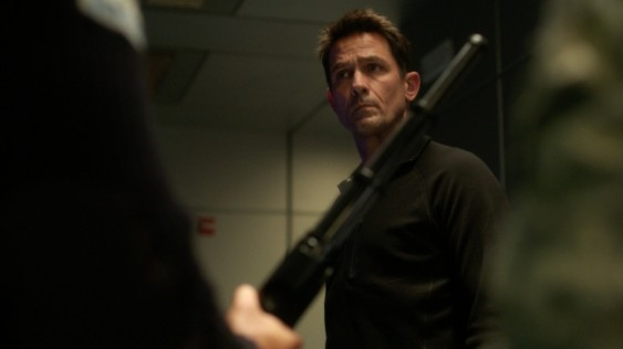 Dr. Alan Farragut (Billy Campbell) arguing against the use of stun weapons in SyFy's new show, Helix. Courtesy of SyFy.