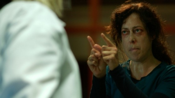 Dr. Doreen Boyle stumbles across an infected patient (the the other doctors lost) in SyFy's new show Helix.  Courtesy of SyFy.