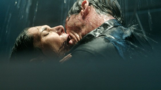 This is what happens when you don't protect your air ducts, people! Peter Farragut (Neil Napier) attacks Julia Walker (Kyra Zagorsky) and infects her with the mystery disease on SyFy's new show Helix. Courtesy of SyFy.