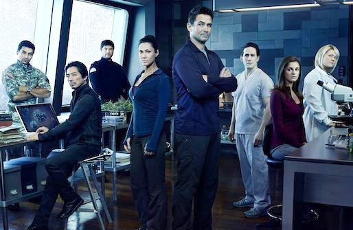 So many pretty people, looking serious and doing science! We're so excited! The cast of SyFy's new show, Helix. Courtesy of SyFy