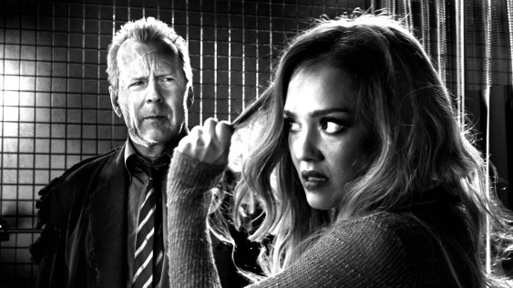 Bruce Willis and Jessica Alba in Sin City: A Dame to Kill For