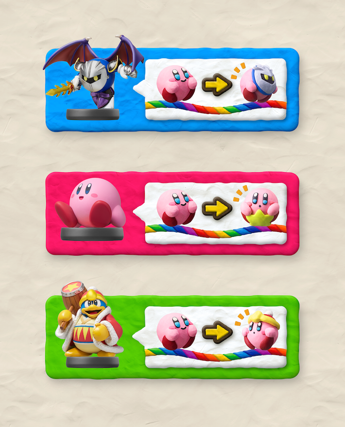 The game supports these three Amiibo figures, but good luck finding two of them.